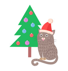 funny cat in red hat sitting near christmas tree vector image vector image