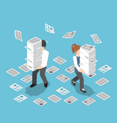 isometric stressful businessman holding stack of vector image