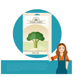 pack of broccoli seeds icon vector image vector image