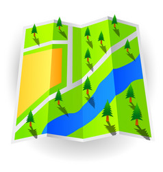 paper world map with trees vector image