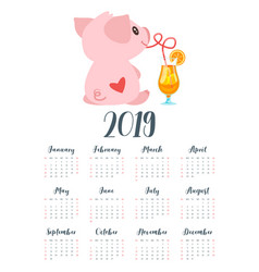 2019 pig year monthly calendar vector