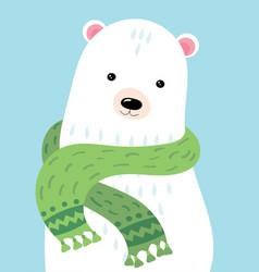 a cartoon portrait bear stylized polar bear vector image