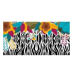 Animal print with tropical flowers design vector