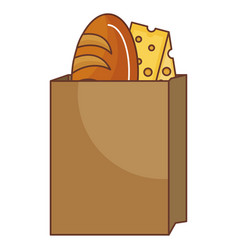 bag with delicious bread and cheese vector image