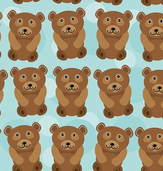 Bear Seamless pattern with funny cute animal on a vector