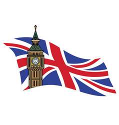 big ben london with uk flag background vector image