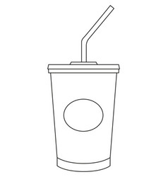 black and white soda cola milkshake fast food icon vector image vector image