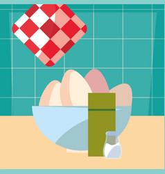 bowl eggs salt cooking food preparation vector image