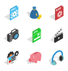 Broadcast icons set isometric style vector