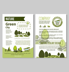 Brochure for nature eco gardening vector