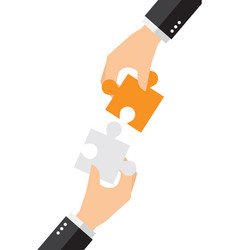 Business people solving oversized jigsaw puzzle vector