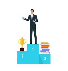businessman on pedestal of winners vector image