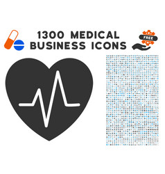 cardiology heart pulse icon with 1300 medical vector image