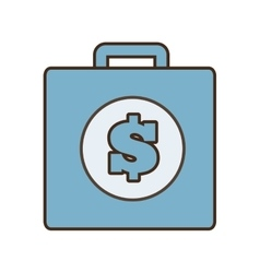 Cartoon blue suitcase money business vector