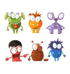 Cartoon cute character monsters set vector
