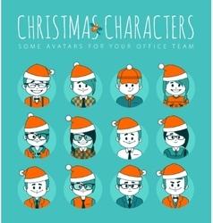 Christmas Set of avatars your office team vector