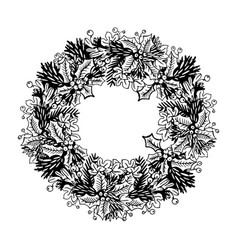 christmas wreath engraving vector image