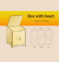 Cnc laser cutting box with heart laser cut no vector