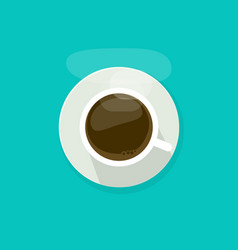 coffee cup top view isolated on blue background vector image