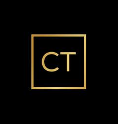 Creative initial letter ct square logo design vector