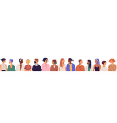 crowd diverse young modern people isolated on vector image