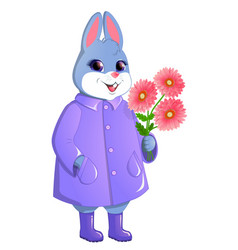 Cute rabbit with a bouquet of gerberas vector