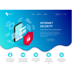data protection landing page smartphone blue icon vector image