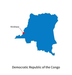 Detailed map of Democratic Republic of the Congo vector image