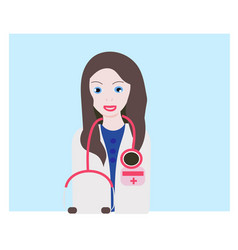 doctor icon avatar woman flat style vector image