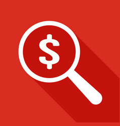 dollar icon magnifying glass vector image