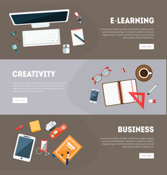 e-learningcreativity business banners templates vector image