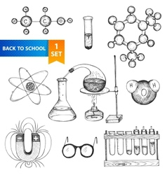 Education chemistry and physics set vector