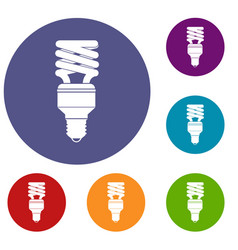 Energy saving bulb icons set vector