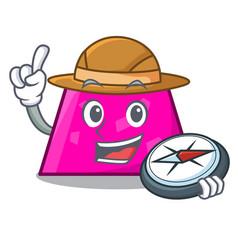 Explorer trapezoid mascot cartoon style vector