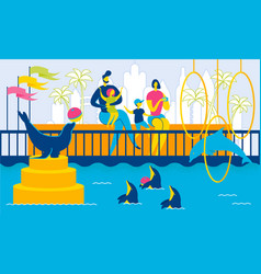 family in dolphinarium animals swim and play ball vector image