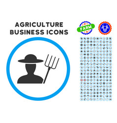 farmer with pitchfork rounded icon with set vector image