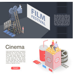 Film festival banner set isometric style vector