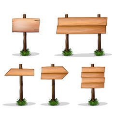 five wooden signs on white background vector image
