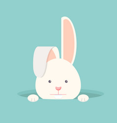 Flat funny bunny in hole vector