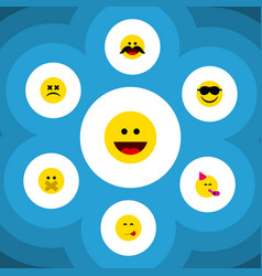 Flat icon face set of party time emoticon laugh vector