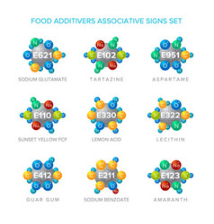 Food additives signs with associative molecular vector