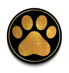 Golden animal paw print vector