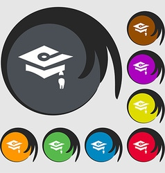 Graduation icon sign symbols on eight colored vector