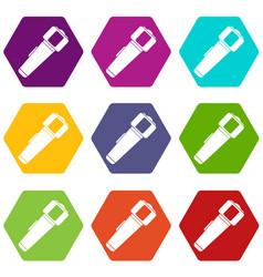 hand flashlight icon set color hexahedron vector image vector image