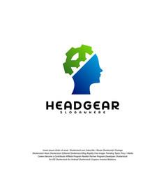 head gear logo head intelligence logo designs vector image