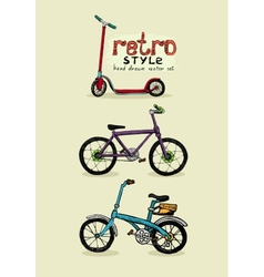 Hipster style bike and scooter vector