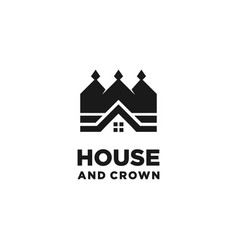 house and crown logo design vector image