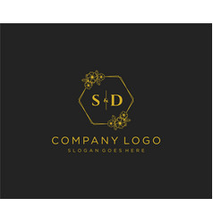 Initial sd letters decorative luxury wedding logo vector