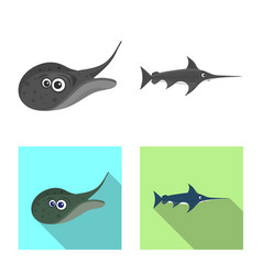 Isolated object of sea and animal symbol vector
