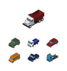 Isometric car set of car autobus lorry and other vector